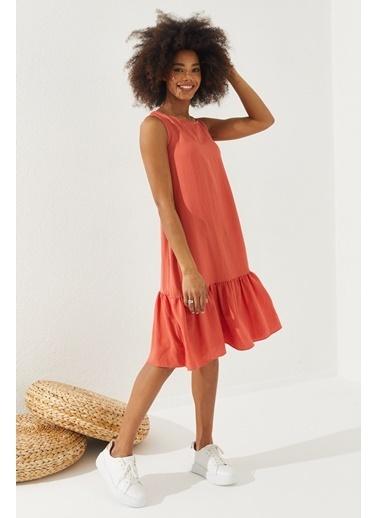 Reyon  Kadın Eteği Fırfırlı Sıfır Kol Elbise Taş Kırmızı